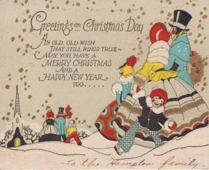 vintage christmas card art deco